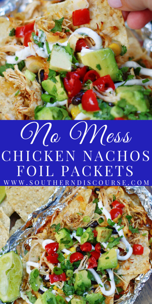 Forget doing the dishes with these deliciously fun chicken nachos foil packets.  Loaded with melted cheese, tender, seasoned chicken, black beans, corn and tomatoes, these no-mess nachos are perfect for cookouts, camping, tailgates, or any ol' time a nacho craving hits!