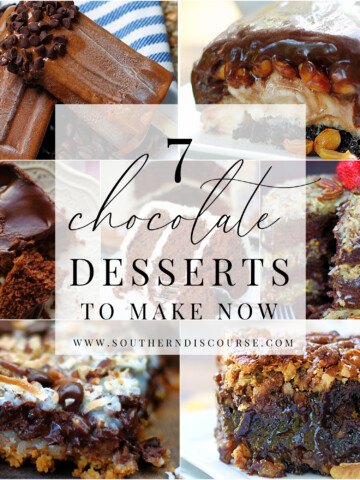 title collage graphic of 7 chocolate desserts to make now