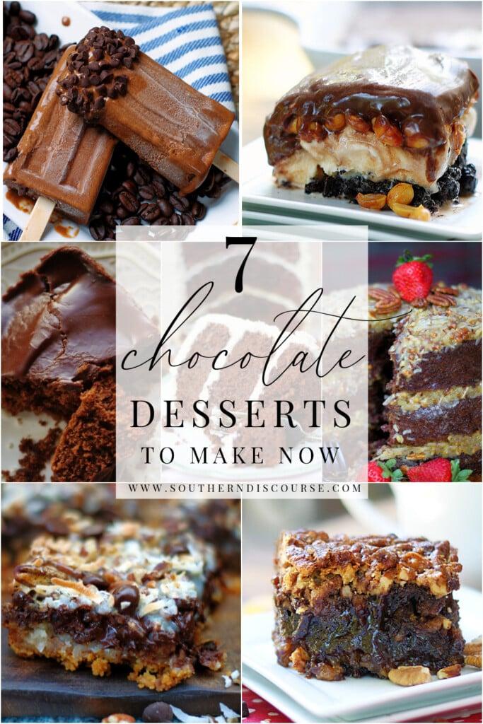 7 حلويات شوكولاتة منها شيت كيك و براوني و ايس كريم