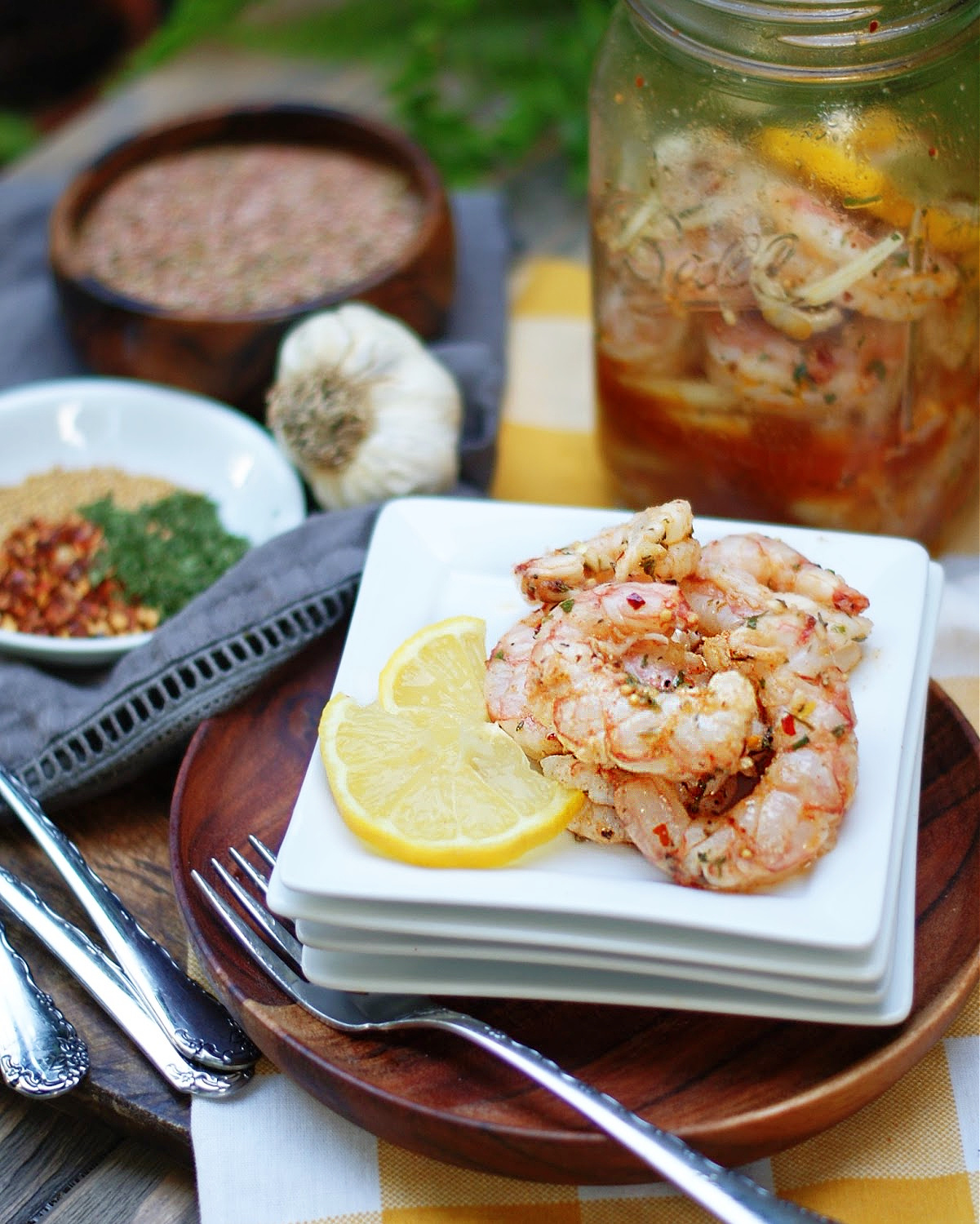 Finish photo with serving of pickled shrimp and brining jar