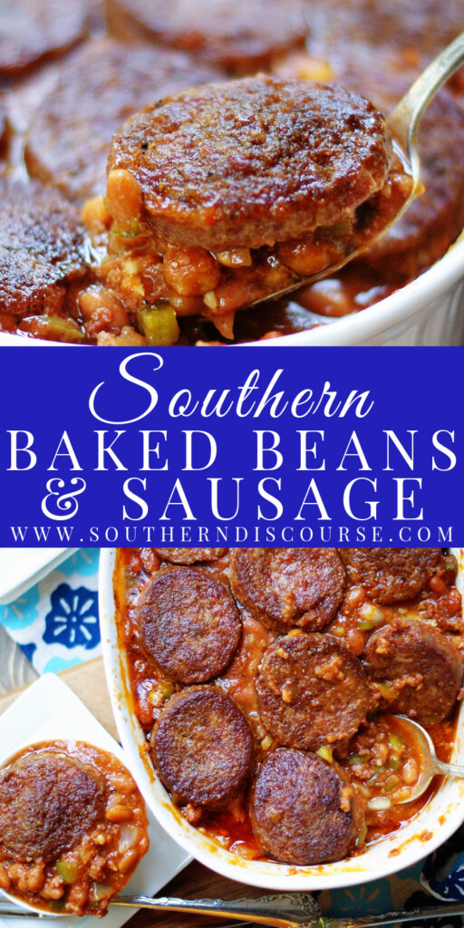 Pork and beans, hot ground sausage and a rich homemade sauce team up to make an unforgettably flavor packed baked bean side dish perfect for cookouts, BBQs, potlucks or tailgates!