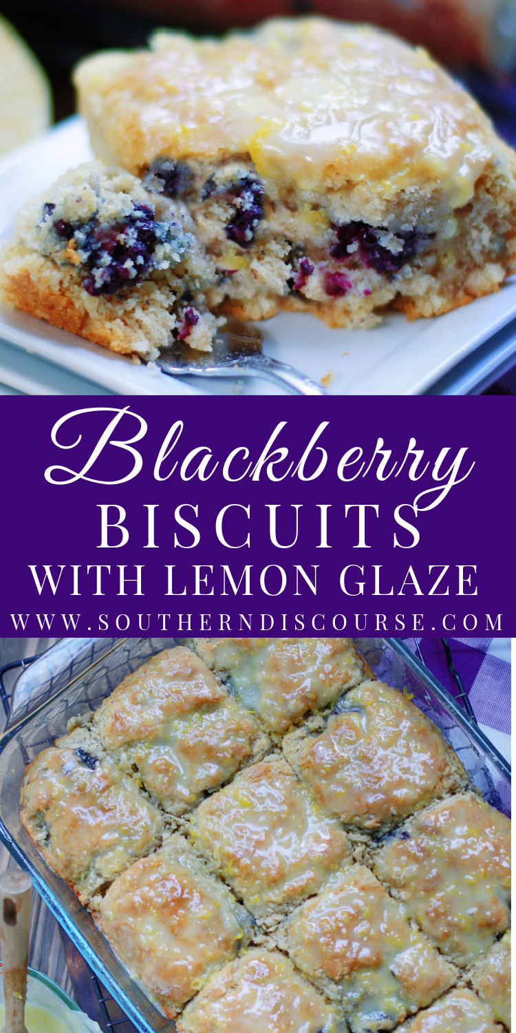 Easy homemade Blackberry Buttermilk Biscuits add a whole new level of amazing to breakfast, brunch, even dessert!  Blackberry Buttermilk Biscuits are loaded with plump, ripe blackberries, topped with a bright & zesty lemon glaze and have just the right amount of buttery goodness.