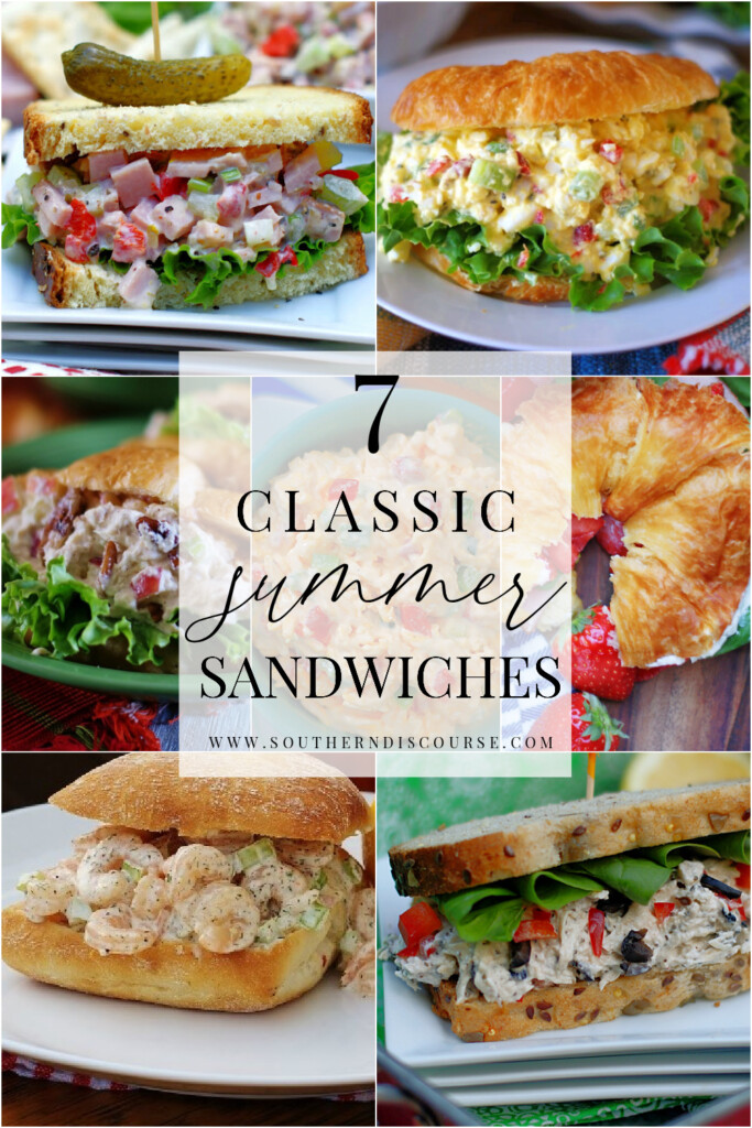 7 classic summer sandwich recipes to beat the heat and stay out of the kitchen.  From pimento cheese to chicken salad, tuna salad or shrimp rolls, everything you need to put a delicious meal on the table is here!