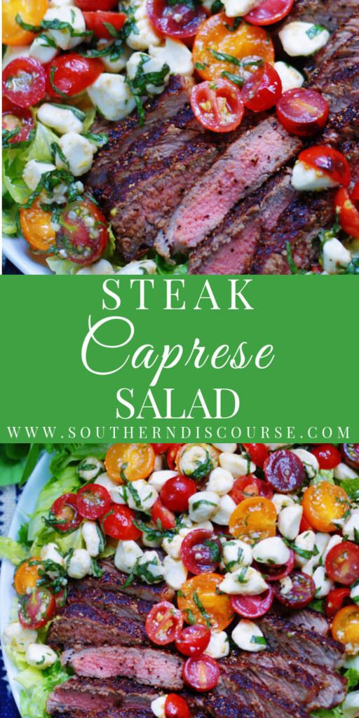 A bright & delicious summer dinner salad, this Steak Caprese Salad combines marinated tomatoes, creamy mozzarella and fresh basil with thinly sliced, tender steak all tucked into a bed of crisp Romaine lettuce. Drizzle with a little balsamic vinegar for a fantastic finish that keeps everyone happy at the dinner table!
