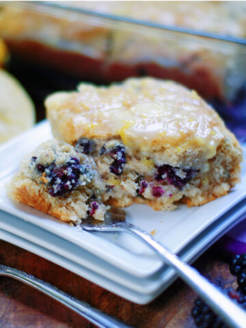 Easy homemade blackberry biscuits with lemon glaze
