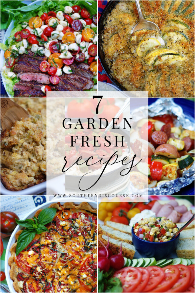 These 7 easy, fresh recipes use all your summer garden favorites!  Tomatoes, zucchini, yellow squash, onions, cucumbers, basil, sweet corn and okra all shine in these classic dishes that highlight what garden fresh eating is all about.  From easy foil grill packets to classic tomato pie, these recipes are what summer eating is all about!