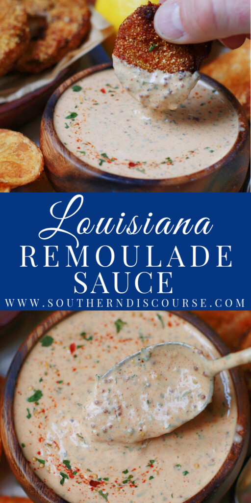Easy Louisiana Remoulade Sauce is the perfect way to dress up your fish, crab cakes, burgers, veggies and more.  This spicy, homemade mayo-based sauce has a little Creole kick and loads of Southern heart.  Get ready to dip!