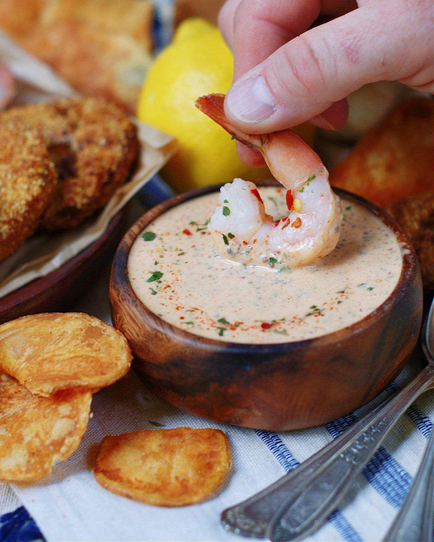 Louisiana Remoulade Sauce and Shrimp to show serving idea