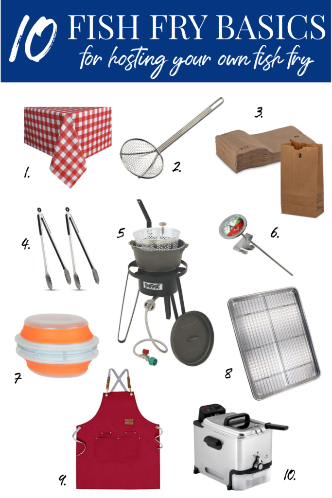 collage of 10 fish fry basics from Amazon