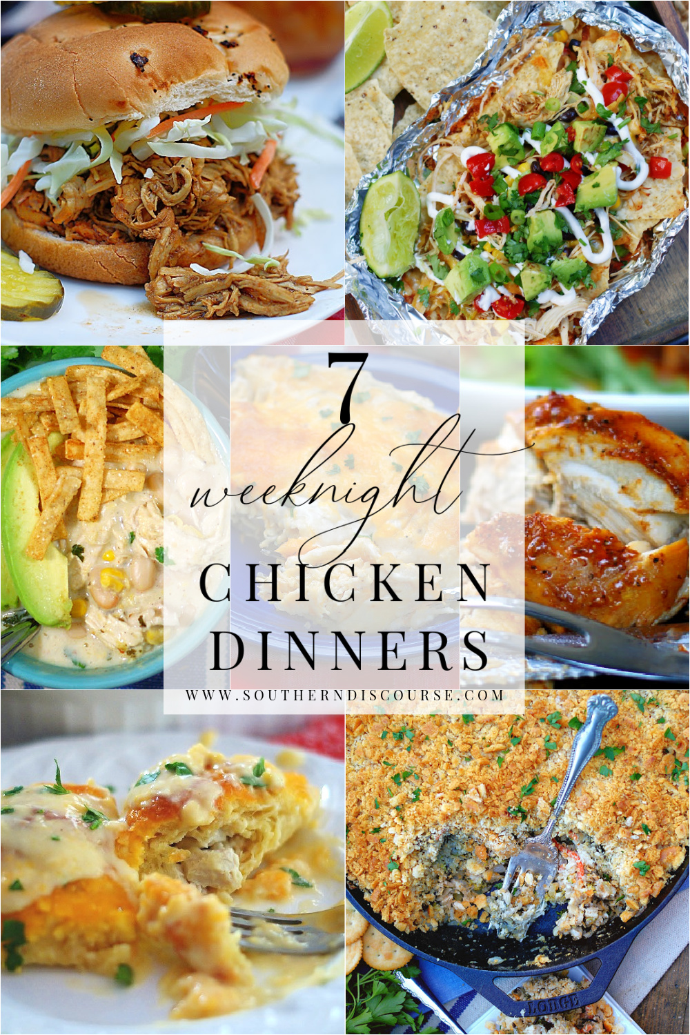 Enjoy these 7 easy chicken dinners for busy weeknights.  From crock pot BBQ chicken sandwiches & Tex Mec foil packet nachos to family style favorites like chicken & wild rice casserole or chicken stuffed crescent rolls, these easy chicken meals make every night delicious!