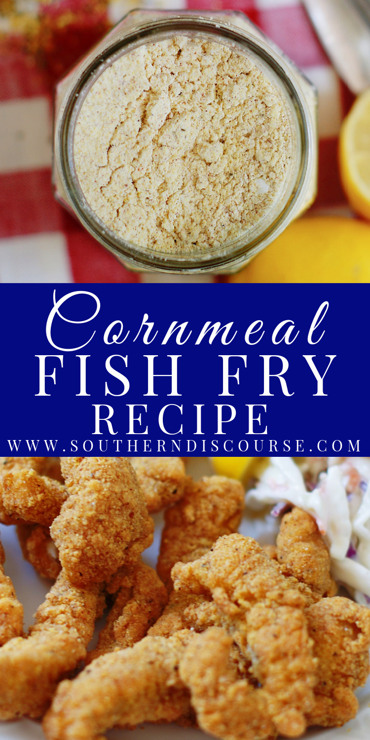 The key to any good southern fish fry is a perfectly seasoned cornmeal coating that fries up golden with a smart, crisp crunch.  And the easiest way to achieve that is with your own Homemade Cornmeal Fish Fry Mix!
