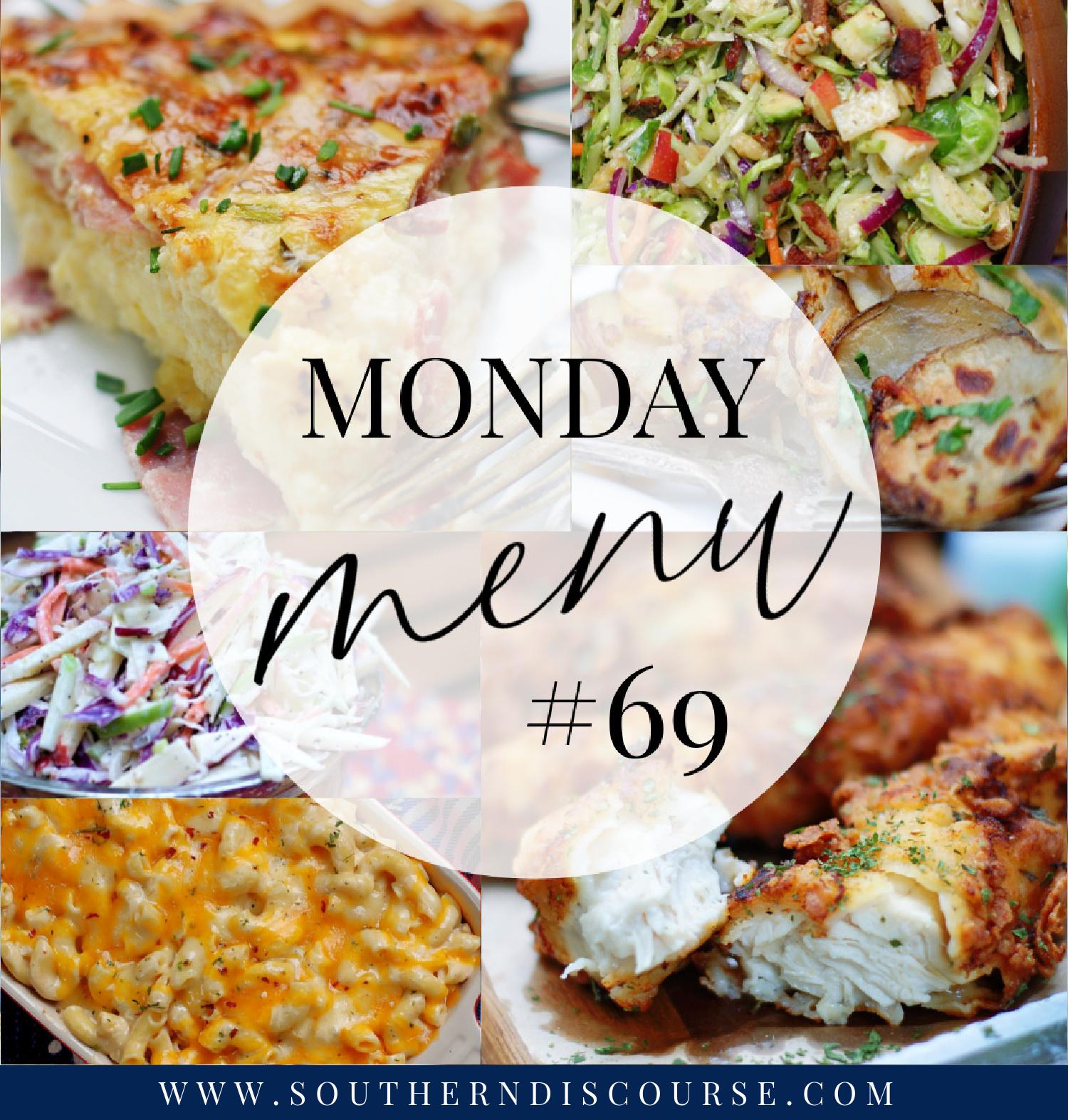 Monday Menu title collage of 2 meal planning menus