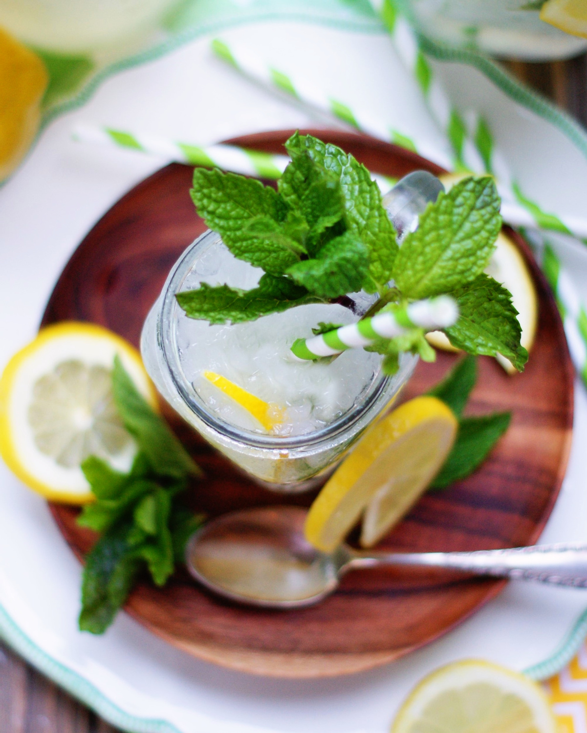 Overhead view of Fresh Mint Lemonade to show garnish and color.