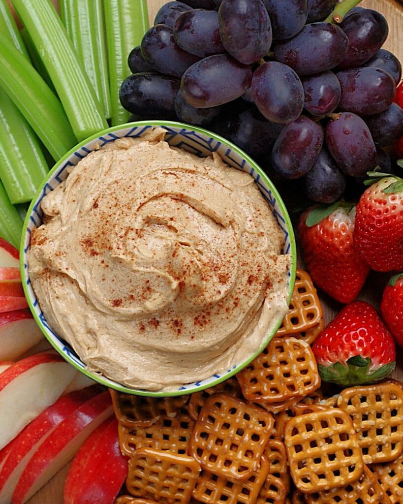 peanut butter fruit dip with yogurt