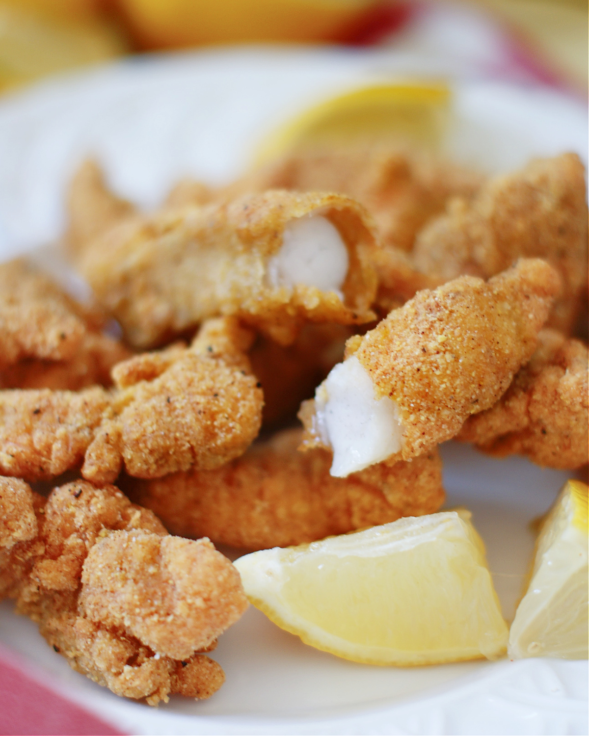 tender, flaky fish with crunchy cornmeal coating
