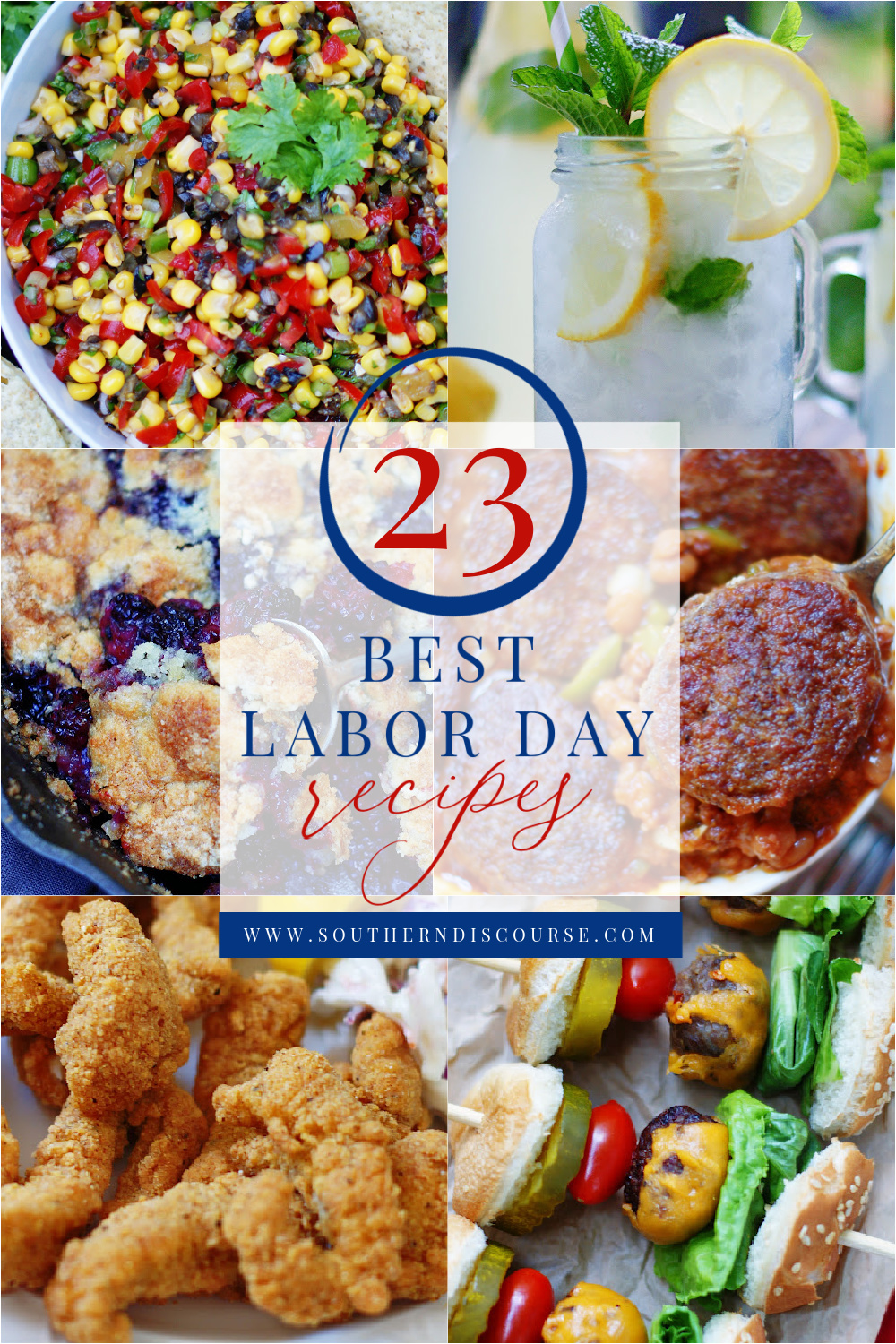 23 of the best Labor Day recipes for your cookout or get together.  From Dips to drinks, salads, sides, main dishes, even dessert, this collection has everything you need to celebrate the end of summer.