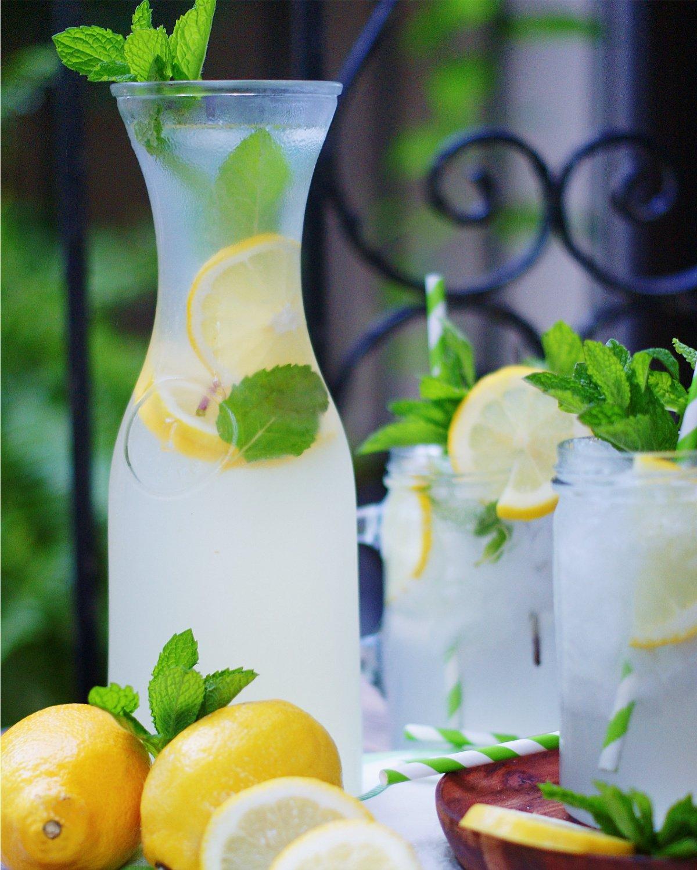 Full Pitcher of Mint Lemonade serving idea
