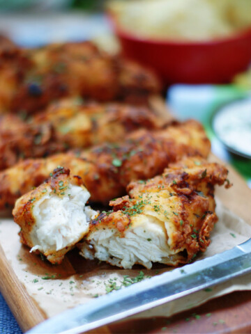 ranch chicken tenders showing crisp breading and tender chicken