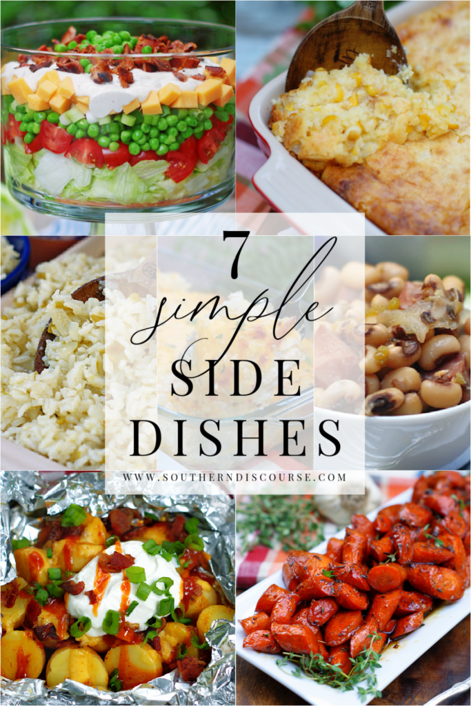 7 simple side dishes perfect for completing just about any meal!  From classic pea salad to potatoes, cornbread pudding or rice, side dishes make the meal!