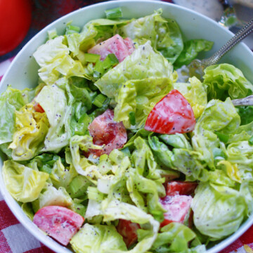 simple lettuce & tomato salad with old fashioned, creamy may dressing
