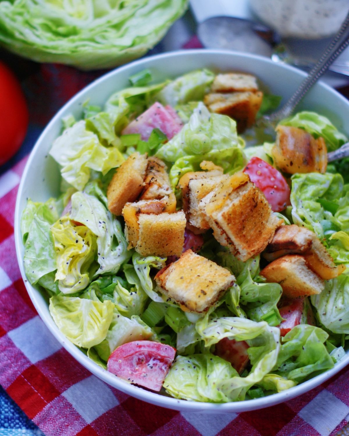 grilled cheese croutons on salad