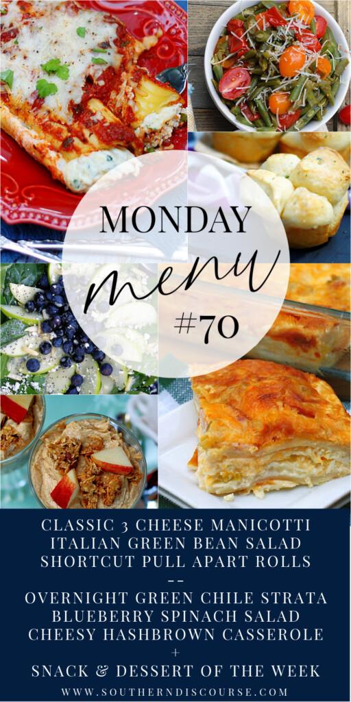 2 family dinner menus plus snack, dessert and breakfast ideas = 9 recipes in all!