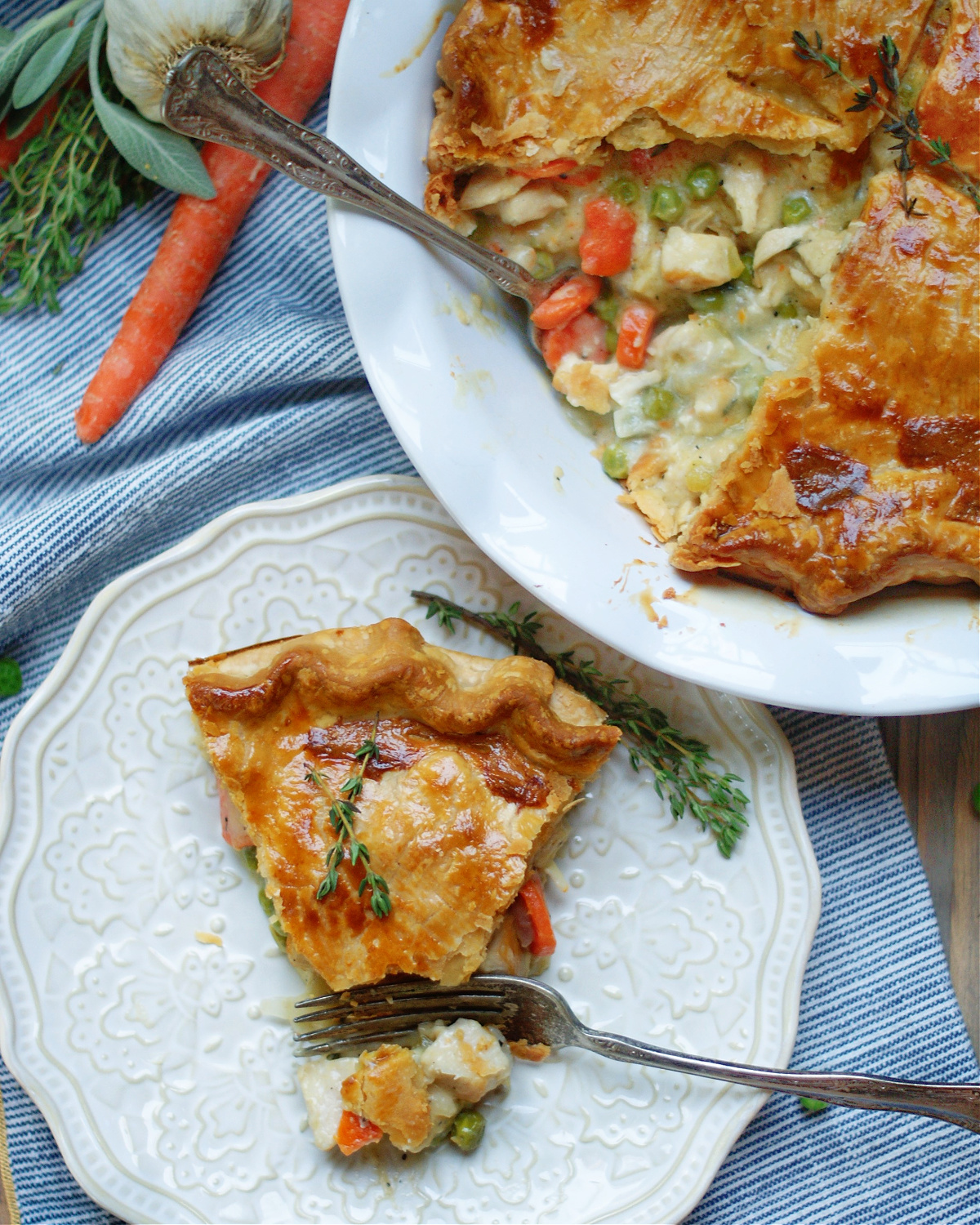 chicken pot pie slice and pie to show ingredients and creamy filling