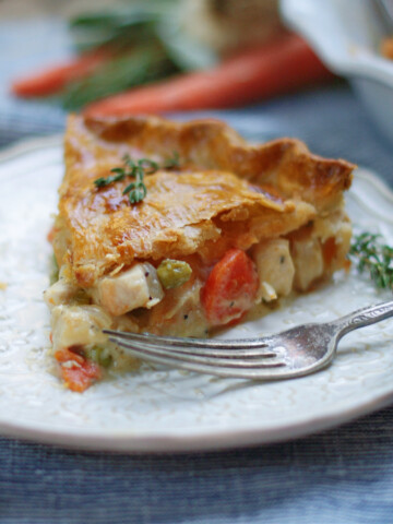 Classi double crust chicken pot pie on a plate