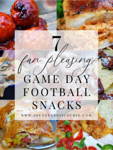 title collage for football snacks round up