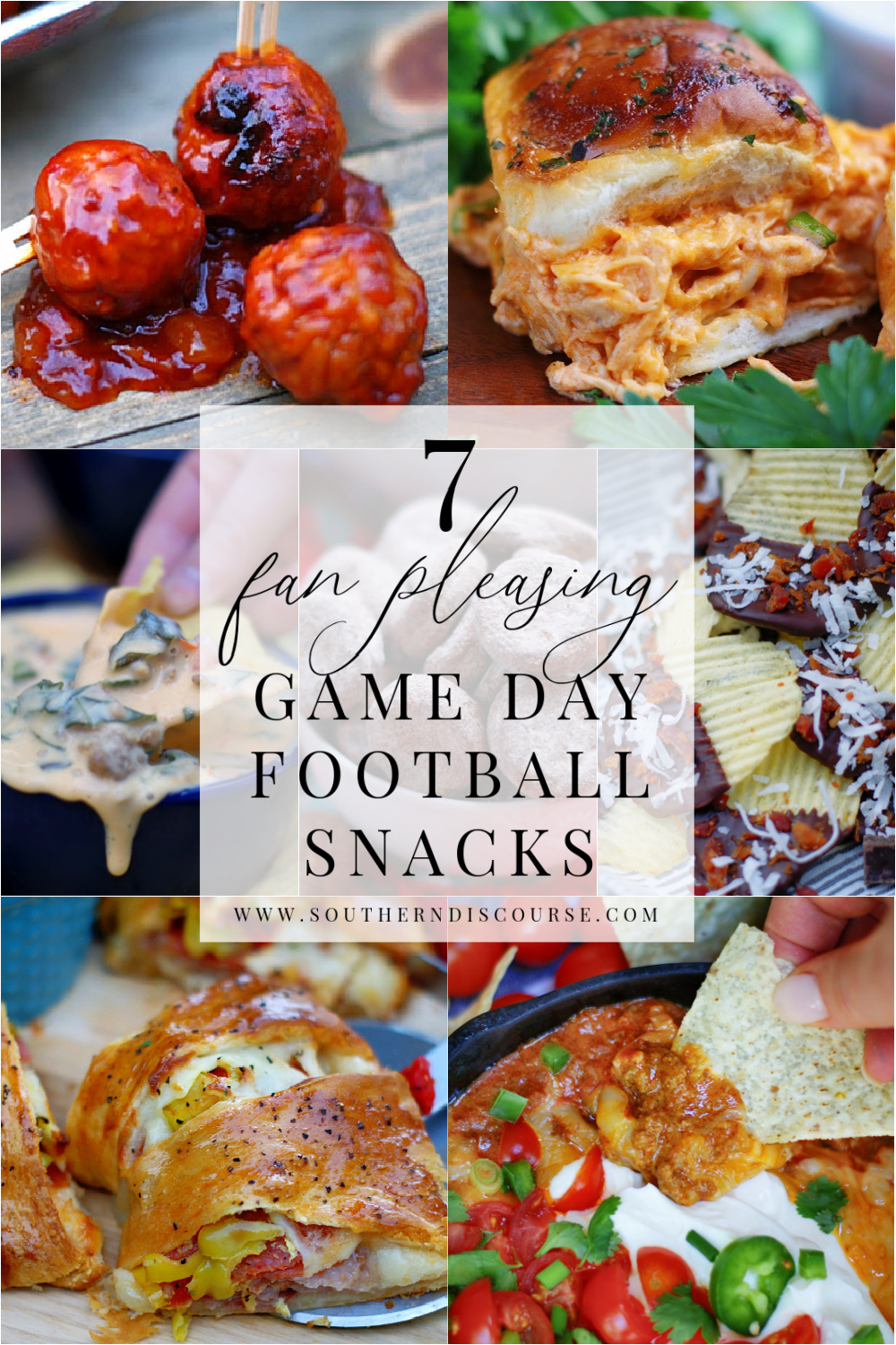 7 hearty football snacks sure to please all your fans on game day!  From buffalo sliders and Spicy Italians to hot dips and sweet treats, this collection have everything you need to enjoy the big game!