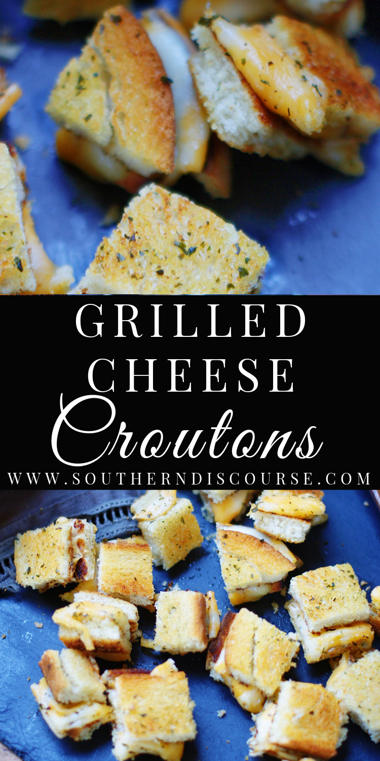 Who needs plain ol' croutons when you can top your favorite soups and salads with crisp, bite-sized versions of a melty childhood favorite?  These clever Grilled Cheese Croutons are the ultimate feel good salad and soup topper!