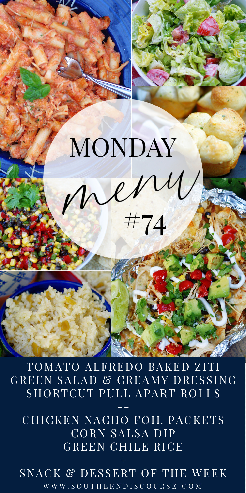 """Monday Menu answers the question, """"What's for Dinner"""" with 2 easy  family meals, a breakfast recipe, snack ideas and dessert of the week!"""