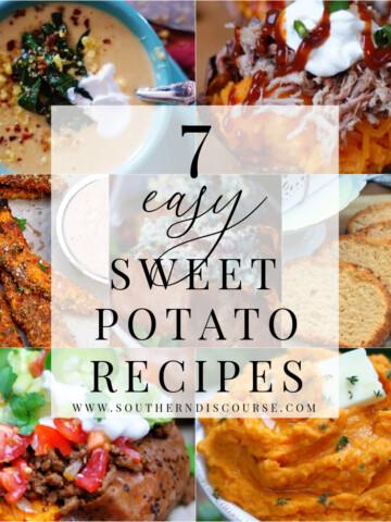7 easy sweet potato recipes title collage