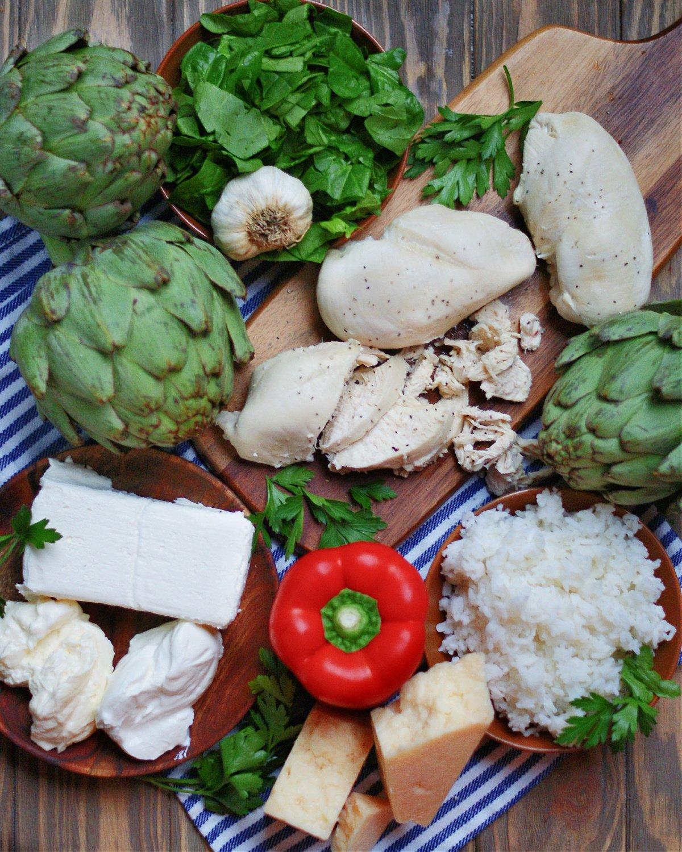 ingredient to make spinach artichoke chicken casserole with rice